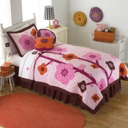 Pem America Flowers for Hanna Quilt Set - Hot pink and chocolate brown flowers make the Pem America Flowers for Hanna Quilt Set a gorgeous addition to any little girl's room. This beautiful quilt is hand-pieced from individually dyed sections of fabric for a durable high-quality construction. It's made from 100% cotton fabric with 100% cotton fiber fill and is pre-washed for a super-soft cozy feel right out of the package. This quilt set is also machine washable for easy care.Quilt Set Components:Twin: Quilt 1 pillow shamFull/Queen:Quilt 2 pillow shamsDimensions:Twin Quilt: 86L x 68W inchesFull/Queen Quilt: 86L x 86W inchesPillow Shams: 26L x 20W inchesAbout Pem AmericaMakers of high quality handcrafted textiles Pem America Outlet specializes in bedding that enhances your comfort and emphasizes the importance of a good night's rest. Quilts comforters pillows and other items for the bedroom are made with care and craftsmanship by Pem America. Their products cover a wide range of materials styles colors and designs all made with long-lasting quality construction and soft long-wearing materials. Details like fine stitching embroidery and crochet decorations and reinforced seaming make Pem America bedding comfortable and just right for you and your family.