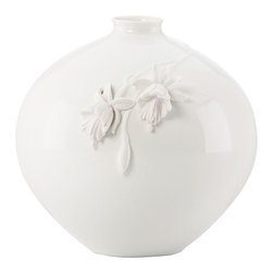 Lenox - Lenox Flora Fushia Globe Vase - Even without fresh flowers, this Lenox vase is abloom with beauty. Flowers seem to sprout from the side of the gorgeous, versatile porcelain vase.