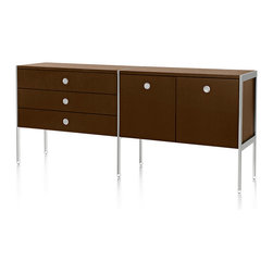 "Geiger - H Frame 5-Drawer Credenza - Who knew storage and organization could look so good? This 5-drawer credenza blends a rich solid tone in the drawers and cabinets, with the crisp look of metal in the ""floating"" legs and hand pulls."