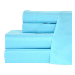 TwinXL.com - Twin XL Cool Blue Aqua Sheet Set - These new sheets make any bed absolutely shine with their aqua blue color. Made of high quality soft brushed microfiber not only do they look incredible but feel great too!