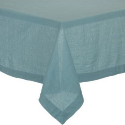 "Helena Aqua 60""x90"" Tablecloth - Lightweight 100% linen tablecloths in beautifully vibrant solids are pre-washed for extra softness. Tailored with 2"" hems and mitered corners for a neat, finished look."