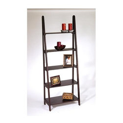 """Office Star - Five Tier Ladder Bookcase - The 72 inch Ladder Bookcase in Espresso with 5 Tiers offers a rising succession of progressively narrowing shelves to display books and treasured collectibles to their best advantage. This lightweight yet sturdy bookcase will complement any home or office setting! * Espresso Collection. 5 Tiers. 26.5"""" x 14.25"""" x 72"""" x 38 lbs. 26.5"""" x 14.25"""" x 72"""". 38 lbs"""