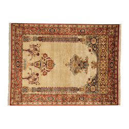 Pure Silk Oriental Rug, Prayer Design 5'X7' Handspun Silk Anatolian Rug SH12828 - Hand Knotted Silk Rugs are second to none when it comes to quality.  Silk fibers are much thinner allowing our weavers to maximum the knots per square inch in a rug.  This will escalate the labor as well as material in the rug.  These traits along with the cost of silk make hand knotted silk rugs some of the most expensive rugs in the world.