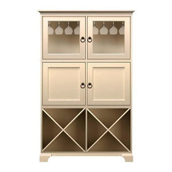 Howard Miller Custom - Ava Cabinet w 2 Racks in Antique Vanilla - This cabinet is finished in Antique Vanilla on select Hardwoods and Veneers, with Antique Brass hardware. 2 doors with plain Glass and 2 inset panel doors. 2 storage shelves. 2 adjustable interior shelves and 2 stemware racks. Cove profile top and cove profile base. Hardware: Antique Brass ring pulls on doors. Features soft-close doors and metal shelf clips. Simple assembly required. 50 1/4 in. W x 16 1/2 in. D x 78 1/2 in. H