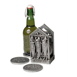 """EttansPalace - Classic Gothic Medieval Warriors Coaster for Drinks Beer Set - 6 Coasters - Six Norman-style warriors stand guard, shields at the ready, in front of their """"castle"""" housing six coasters that feature two heraldic designs. Cast in quality designer resin, the entire set is finished in faux antique pewter to protect your tables and your honor."""