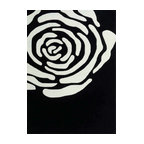 Rug - ~5 ft. x 7 ft. Transitional Black/White Floral Area Rug - Living Room Hand-tufted Shaggy Area Rug