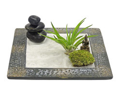 "luludi living frames - Luludi Living Frames Zen Buddha Garden - Zen gardens are calming landscapes ideal for meditative thought and contemplation. Our zen buddha garden comes with a bamboo stick for calming sand pattern design, moss and air plant, a black three-stone cairn and buddha statue atop white sand inside a ceramic basin. Ideal for creating a mini oasis of beautiful serenity in your home or office., available as shown or may be custom-tailored:, dimensions (approx): 7"" width x 7"" length x 1"" height (sizes vary), weight (approx): 23 oz, zen gardens are unique landscapes so finished pieces will vary, contact us for custom zen garden designs including optional sand colors., suggestion for care:, air plant, no direct sun required., mist once per week remove air plant first, mist and allow to dry before replacing in terrarium., upon receipt soak air plant in bowl of water for 30 minutes, allow to dry then place plant in terrarium., moss, no direct sun required., moss requires no care if it becomes dry and brittle mist with water"