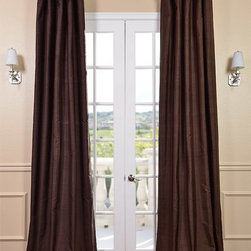Chocolate Textured Dupioni Silk Curtain - Dupioni silk has been around for centuries. The beautiful luster and sheen of this textured silk is timeless & will work in any décor. Whether your home is classic & traditional or modern & contemporary our Textured Dupioni Silk curtains will add color & beauty to any space