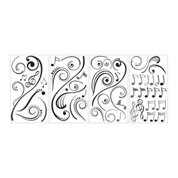 RoomMates - Music Note Scroll Peel & Stick Wall Decals - This playful wall decal design combines a graphic black scroll with black and silver music notes to create a wall graphic perfect for all you musicians and music enthusiasts! Application is easy: simply peel each element from the sheet and stick it to your wall or flat surface of choice. Repeat with the next piece until you've applied every sticker. Not happy with the design? Simply peel the pieces away and re-apply them as many times as you need. A great accent piece for living spaces, dorms, or near your favorite musical instrument!