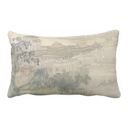 "Poetic Pillow - Along The Riverbank Pillow P1 - 16"" X 24"" Pillow - This pillow was inspired by the fine works of art in imperial China. From Tang dynasty to Qing dynasty we found beautiful calligraphic works depicting botanical floras, cultural traditions, landscape and scenic views. Transform any space with a pillow from Poetic Pillow. Each pillow is inspired by fine works of art and printed on the front and back. Covers are made of pre-shrunk satin-like polyester fabric. All seams are finished to prevent fraying and pillow covers have a knife edge finish.. A concealed zipper allows for ease of inputting pillow inserts. A duck feather insert is included for soft yet supportive feel. Cushion inserts are encased in a cotton cover and filled with 100% duck feather. All research, design and packaging is completed in Oakland, California."