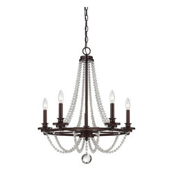 Byanca 5 Light Chandelier - Stunning rows of draping crystal beads and large crystal finials, combined with a shining Mohican Bronze finish, make the Byanca collection of chandeliers from Savoy House an elegant and breathtaking standout.