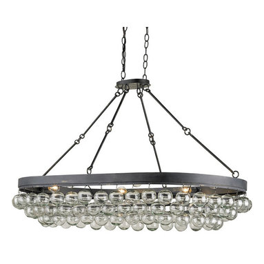 Balthazar Oval Chandelier by Currey and Company - Balthazar Oval Chandelier features wrought iron finished in French Black with blown glass balls.