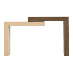 "Vaneri Studio - Stepped Table, Maple and Walnut - This table features two separate ""Ls"" that bolt together to form a sturdy, stable console table.  Some assembly is required; this allows the table to be sent UPS as opposed to shipped freight."