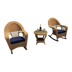 Forever Patio - Catalina 3 Piece Rattan Rocking Chat Set, Straw Wicker, Navy Cushions - The 3 Piece Catalina Rocking Chair Set with Blue Sunbrella® Cushions (SKU FP-CAT-3RCH-ST-CN) provides the perfect place to unwind out on your patio or deck, and will add a touch of traditional elegance to your outdoor d_cor as well. This set features Straw wicker with a full round design that creates a complex and luxurious look. Every strand of this wicker is made from High-Density Polyethylene (HDPE) and is infused with its natural color and UV-inhibitors that prevent cracking, chipping and fading ordinarily caused by sunlight. The set is supported by a thick-gauged, powder-coated aluminum frame that makes it extremely durable and resistant to corrosion. Also included are cushions covered in fade- and mildew-resistant Sunbrella® fabric. Find time to escape the hustle and bustle with this wonderfully designed rocking chat set.