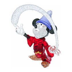 Swarovski - Swarovski Sorcerer Mickey Mouse 2014 Disney Figurine - Swarovski Sorcerer Mickey Mouse 2014 Disney Figurine 5004740  -  Size: 5 Inches Long x 5.63 Inches Tall x 2.94 Inches Deep  -  Hand Crafted In Fine Swarovski Silver Crystal  -  Made In Austria  -  Released In 2014  -  Swarovski Crystal Item Number: 5004740  -  Showing Mickey as an apprentice, this colorful masterpiece is a tribute to the Disney movie Fantasia. Holding a fantastic star arc, he shines in Light Siam crystal with a clear crystal face and hands, Dark Blue Diamond crystal arms and ears, and Smoked Topaz shoes.