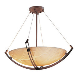 Justice Design Group - Porcelina Dark Bronze LED 24-Inch Round Bowl Pendant with Crossbar and Banana Le - - The Porcelina Collection was created to offer large-scale lighting fixtures that coordinate with out extensive Limoges Collection of translucent porcelain. The sculpted surfaces of these faux porcelain shades capture the classic, yet contemporary, designs of the delicate Impressions of the Limoges Collection. LED Technical Data: Driver Efficiency: Greater Than 80 percent Light Engine Efficiency: 77 Lumens per Watt (initial) We recommend installing LED fixtures on a dimmer switch  - Bulb is included  - Dimmable down to 5 percent with the use of Incan/Triac or ELV dimmer, not included  - Lumens: 5000 Lumens, which is equivalent to approximately three 100 watt incandescent bulbs.  - Color Temperature (CCT): The light quality is warm (3045K) and truly stunning  - Average Hours: Rated for 50,000 hours, which means no more climbing ladders to change light bulbs!  - Color Rendering Index: 90  - Beam Spread: 120�  - Shade Material or Composition: Faux Porcelain Resin Justice Design Group - PNA-9722-35-BANL-DBRZ-LED-5000
