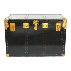 Pre-owned Antique Black & Brass Steamer Trunk - Huge antique steamer trunk made of hard vulcanized fiber, brass hardware, and corner protectors. Shiny black finish with Asian writing on top and front. Original storage bins and shelf in tact. Both leather handles are in working order and overall excellent condition circa 1940.