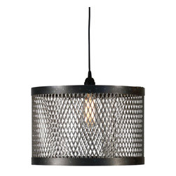 "Cage Light 15"" W x 10"" H - Delicate small-scale latticework made from reclaimed metal makes up the drum shade of the hanging Cage Light, and the distressed black metal and regular pattern makes this transitional pendant remarkably easy to bring into your home and coordinate with other decor. The ceiling light's versatile construction adds a pleasingly battered, low-key note to your room's theme."