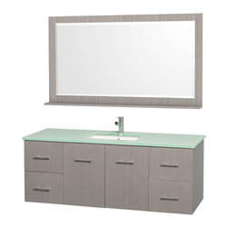"Wyndham Collection - Wyndham Collection 60"" Centra Grey Oak Single Vanity w/ Square Porcelain Sink - Simplicity and elegance combine in the perfect lines of the Centra vanity by the Wyndham Collection. If cutting-edge contemporary design is your style then the Centra vanity is for you - modern, chic and built to last a lifetime. Available with green glass, or pure white man-made stone counters, and featuring soft close door hinges and drawer glides, you'll never hear a noisy door again! The Centra comes with porcelain sinks and matching mirrors. Meticulously finished with brushed chrome hardware, the attention to detail on this beautiful vanity is second to none."