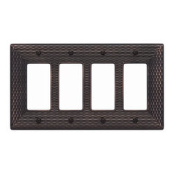 "Atlas Homewares - 4.87"" Mandalay Quad Rocker - Features: -Switch plate. -Mandalay collection. -Available in brushed nickel or venetian bronze finish. -Zinc die cast construction. -Rich woven texture. -Overall dimensions: 0.125"" H x 4.87"" W x 8.625"" D."