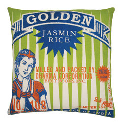 "KOKO - Rice Pillow, Golden Print, 20"" x 20"" - How charming is this pillow? The vintage rice advertisement is a great throwback to a romantic era. And the bright and bold colors would make a beautifully bold statement in any room."