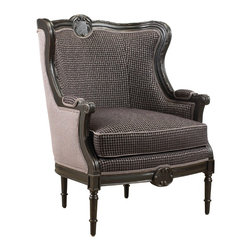 French Heritage - French Heritage Auteuil Chair - The Auteuil Chair is well bred in form and fabrication.  Its exposed hand-carved frame features delicate carving and a luxury down wrapped cushion.  Chair ships As-Shown.