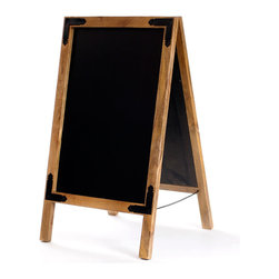 "Café Menu Chalkboard - Please go to the board and write 50 times: ""I will not bore my guests."" This cool, double-sided chalkboard creates a vintage-inspired easel that lets guests know what you're serving, keeps score on family game nights, or helps your little teacher play school. It's made of distressed wood with dark iron accents."