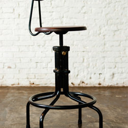 Industrial Loft - Nuevo Living V19C-B Back Rest Counter Height Stool in Seared Oak and Cast Iron  with Metal Backrest @ http://www.dynamichomedecor.com/Nuevo-HGDA217.html