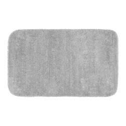 None - Plush Deluxe Frost Grey 30x50 Bath Rug - Relish the luxurious softness of the Plush Deluxe bathroom collection. The grey bath rug is composed of an easy to clean nylon with the added safety of non-skid backing.