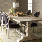 "Horchow - Natural Dining Table & Black Linen Chairs - Elegantly simply best describes this dining furniture. Save with discounted delivery and processing charges when you order a set. Dining set includes one table and six chairs. Table is handcrafted of reclaimed pine with a bleached finish. 110""L x 40""D..."