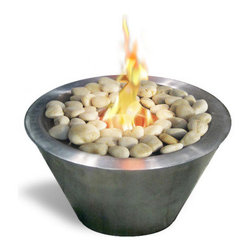 Anywhere Fireplace - Oasis Ventless & See Through Bio Ethanol Fireplace - Its modern style and unique design makes the Oasis by Anywhere Fireplac a favorite for the ambiance of a small fire indoors or outdoors. It can be placed on a table as a center piece or along a walkway, patio or poolside to provide the interesting and distinctive glow of the real fire. Liven your living space with this portable fireplace. White polished rocks are provided, however you can choose to replace them with other colored rocks, marbles, shells, sea glass, etc. to suit your mood, a holiday or to change things up a little.