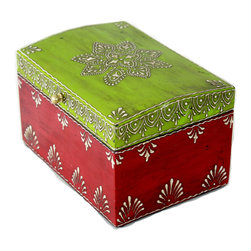 """MarktSq - Wooden Hand Painted Jewelry Box in Dark Pink and Green with Distressed Finish - Features an intricate painted pattern around the box and is an ideal gift for any occasion. This is a fairly big box and has room to store lots of small items. The approximate dimensions are L 7.75"""" x W 5.5"""" X H 4.75""""."""