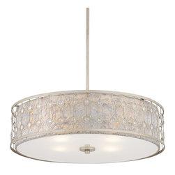 Wide Antique Silver Pendant Light - Possini Euro Design pendant light