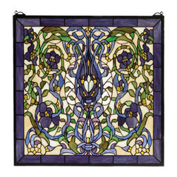 """Meyda - 22""""W X 22""""H Floral Fantasy Stained Glass Window - Ribbons and leaves of green and plum blue twinearound lovely violet flowers on an ivory background.made of 680 pieces of hand cut stained glass, thislovely tiffany style window is handcrafted utilizingthe copperfoil construction process. A solid brasshanging chain and brackets are included."""