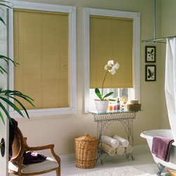 "Window Treatments for Bathrooms: Bali 1"" Mini Blinds - Mini blinds are a great choice for bathrooms, and are especially proportional for smaller windows. With aluminum slats and parts, they'll never be at risk for rust or corrosion."