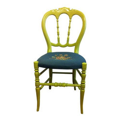 Pre-owned Antique Cerise French Style Accent Chair - This adorable little antique chair is at least 100 years old. Great accent chair and very sturdy for daily use at a desk or dressing table. The embroidery is in great condition and is a lovely teal background with floral motif.