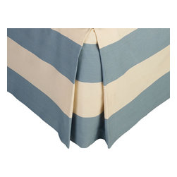 """Mystic Valley - Mystic Valley Traders Cottonwood - Cal King Bed Skirt - The Cottonwood bed skirt is fashioned from the Colony fabric, railroaded with a blue bottom; it is lined and tailored with a 16"""" drop."""