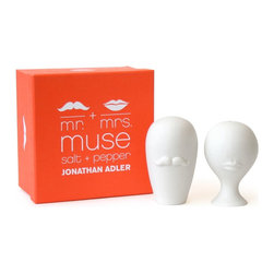 Jonathan Adler - Jonathan Adler Mr & Mrs Muse Salt & Pepper Shakers - Inspired by some of most iconic pottery, Jonathan Adler have created a new range of Salt and Pepper shakers. Perfect as a hostess gift. The packaging is as irresistible as the product. Place a set in front of each of your guests to make your tabletop playful.