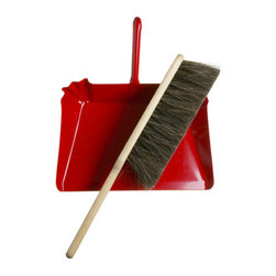 Horsehair Hand Broom and Red Metal Dustpan - I usually want to keep dustpans in the closet, but I wouldn't mind hanging this set next to my broom from a wall hook.