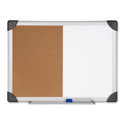 """Lorell - Lorell Dry Erase/Cork Board Combination, 24""""x36"""", Natural Cork - Combination Dry Erase/Cork Board lets you enjoy the versatility of white dry erase and natural cork surfaces in a stylish aluminum frame with rounded black corners. Its smooth writing surface is paired with a natural, self-healing cork bulletin board for a range of messaging options. Convenient marker tray keeps markers and accessories at hand. Board includes easy mounting hardware."""