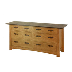 """TY Fine Furniture - Enso 6 Drawer Dresser - The Enso Dresser is not your regular dresser. It is designed and built with the finest components and craftsmanship. Every drawer slides in and out on precision-bearing slides hidden from view. These drawer slides have a """"soft close"""" feature that makes it impossible to slam them shut. If the drawer isn't closed all the way through, the built-in mechanism gently pulls the drawer shut on its own. Crafted from the finest local wood, it has a raised panel construction on both sides. Drawers are all dovetail construction made using Maple wood. The drawer pulls are a unique bow tie design that can be selected in complimentary wood tones."""