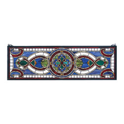 Meyda Tiffany - Meyda Tiffany Evelyn In Lapis Transom Window X-70977 - This Meyda Tiffany window from the Evelyn in Lapis Collection is full of bold color and intricate detailing. This unique pattern incorporates over 500 pieces of hand-cut stained glass and 10 jewels. Floral details and beautiful shades of moss, burgundy and classic blue complete the look.