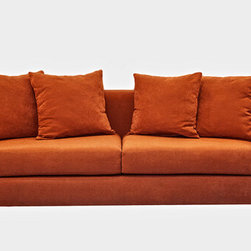 Decenni Divina Modern Sofa - I love the Italian-inspired lines of this orange sofa from Overstock.