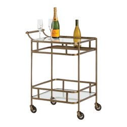 Arteriors - Maddox Bar Cart, Antique Brass - Flowing curves lend a hint of Deco to the Maddox Bar Cart.  Two clear shelves, apron detailing and a specifically designed place for bottles, corrals all your libations with style.  This transitional piece is at home anywhere.  Comes in Zinc or Antique Iron finish.  Caster wheels.