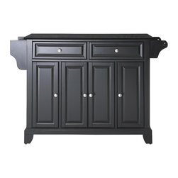 Crosley - Newport Solid Black Granite Top Kitchen Island in Black Finish - Constructed of Solid Hardwood and wood veneers, this kitchen island is designed for longevity. The Beautiful raised panel doors and drawer fronts provide the ultimate in style to dress up your kitchen. Two deep drawers are great for anything from utensils to storage containers. Behind the four doors, you will find adjustable shelves and an abundance of storage space for things that you prefer to be out of sight. Style, function, and quality make this kitchen island a wise addition to your home.