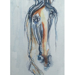 Orange & Blue (Original) by Samantha Sherry - My work examines the relationships between memory, family, identity, and self. Drawing upon my equestrian past (and present) horse forms and fragments become the language through which these ideas are explored and articulated.