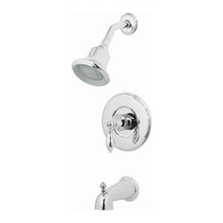 Price Pfister - Price Pfister 808-E0BC Catalina Single Handle Tub and Shower Faucet in Polished - Price Pfister 808-E0BC Catalina Single Handle Tub and Shower Faucet in Polished ChromeThe romantic artistry of the Catalina Bath and Shower Trim Kit brings together contrasting, sweeping curves with sleek and modest lines. The trim kit features a 2-function showerhead, metal lever handle and threaded tub spout.