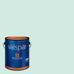 Valspar Gallon Interior Semigloss Bay Mist Paint and Primer in One - Light blue semigloss paint is the color I'll be using to brighten up my kitchen (it's currently red). The semigloss means it's super wipeable, which is what you want for kitchen walls.