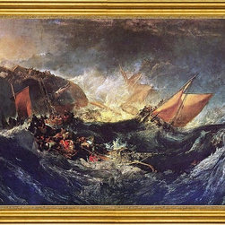"""Joseph William Turner-18""""x24"""" Framed Canvas - 18"""" x 24"""" Joseph William Turner The Wreck of a Transport Ship framed premium canvas print reproduced to meet museum quality standards. Our museum quality canvas prints are produced using high-precision print technology for a more accurate reproduction printed on high quality canvas with fade-resistant, archival inks. Our progressive business model allows us to offer works of art to you at the best wholesale pricing, significantly less than art gallery prices, affordable to all. This artwork is hand stretched onto wooden stretcher bars, then mounted into our 3"""" wide gold finish frame with black panel by one of our expert framers. Our framed canvas print comes with hardware, ready to hang on your wall.  We present a comprehensive collection of exceptional canvas art reproductions by Joseph William Turner."""