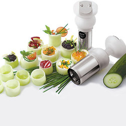 "Paderno World Cuisine - Cylinder Cutter, 2"" diameter - This Paderno World Cuisine cylindrical device has a sharp interior ring that slices into the vegetable when pressed down. It creates hollowed-out cylinders of vegetables perfect for filling and decorating. It comes with a 2 inch diameter for most cucumbers and zucchinis.; with stainless steel blade; with plastic knob; comfortable grip; produces decorative cuts; dish washer safe; Weight: 1.1 lbs; Made in France; Dimensions: 2.0""H x 5.75""L x 2.0""W"